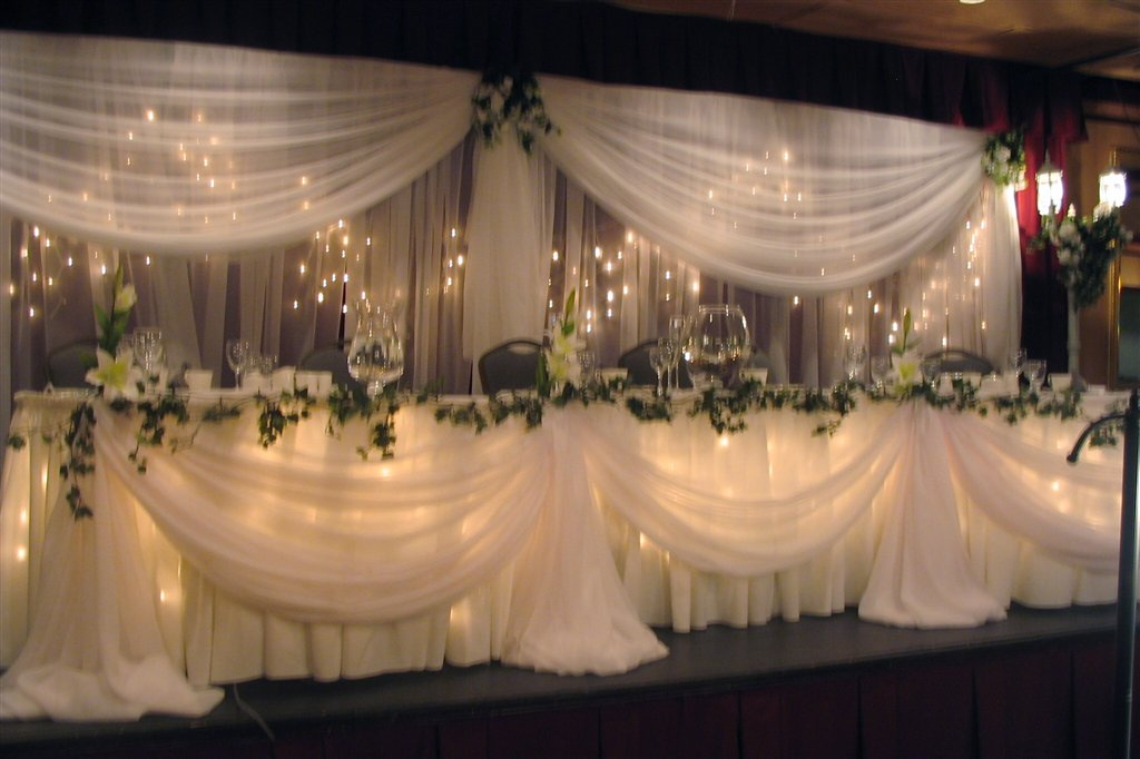 Head table chateau glam weddings and party rentals for Wedding party table decorations